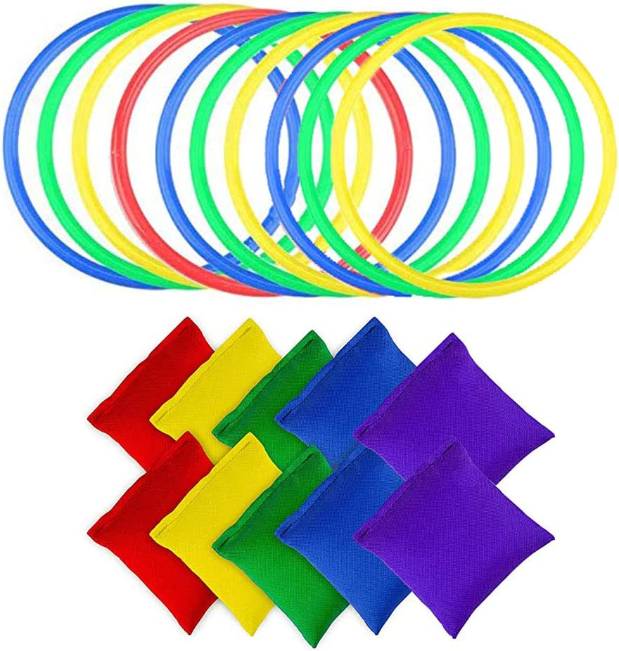 10 Piezas Anillos Lanzamiento Pl/ástico y 10 Piezas Bolsas Frijoles Nylon Color Aleatorio Bolsas Frijoles Juego Lanzamiento para Ni/ños Interior al Aire Libre Fiesta Familia Jard/ín Juegos Deportivos