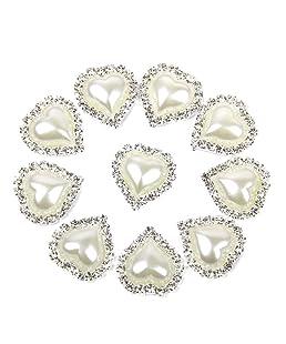 DDG EDMMS 10 PCS 20 x 25 mm délicat Imitation Accessoires Bijoux en Forme de Coeur Strass Perle Colle Plat Blanc
