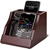 Caleb Cell Phone Mobile Device Charging Station Valet - Dark Brown Wood