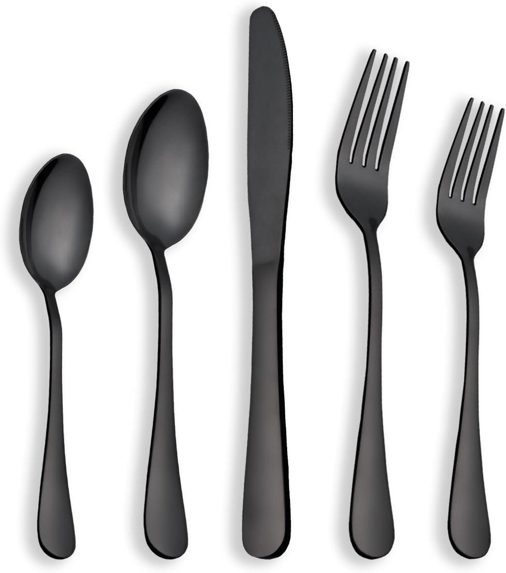Berglander Juego de cubiertos de acero inoxidable chapado en titanio negro 30 piezas, servicio para 6 (30 piezas)