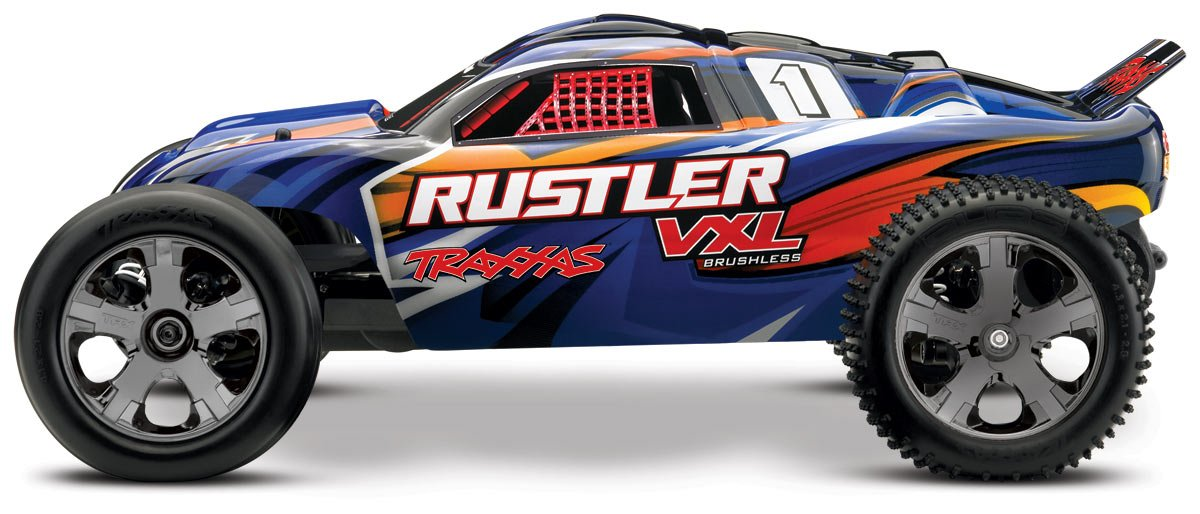 Amazon Traxxas 37076 3 Rustler VXL 1 10 Scale Brushless 2WD Stadium Truck With TQi 24GHz Radio Blue Toys Games