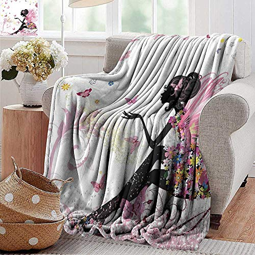 PearlRolan Printed Blanket,Girls,Fairy Girl with Wings in a Floral Dress Magical Fantasy Garden Flying Butterflies,Multicolor,300GSM,Super Soft and Warm,Durable Throw Blanket 50