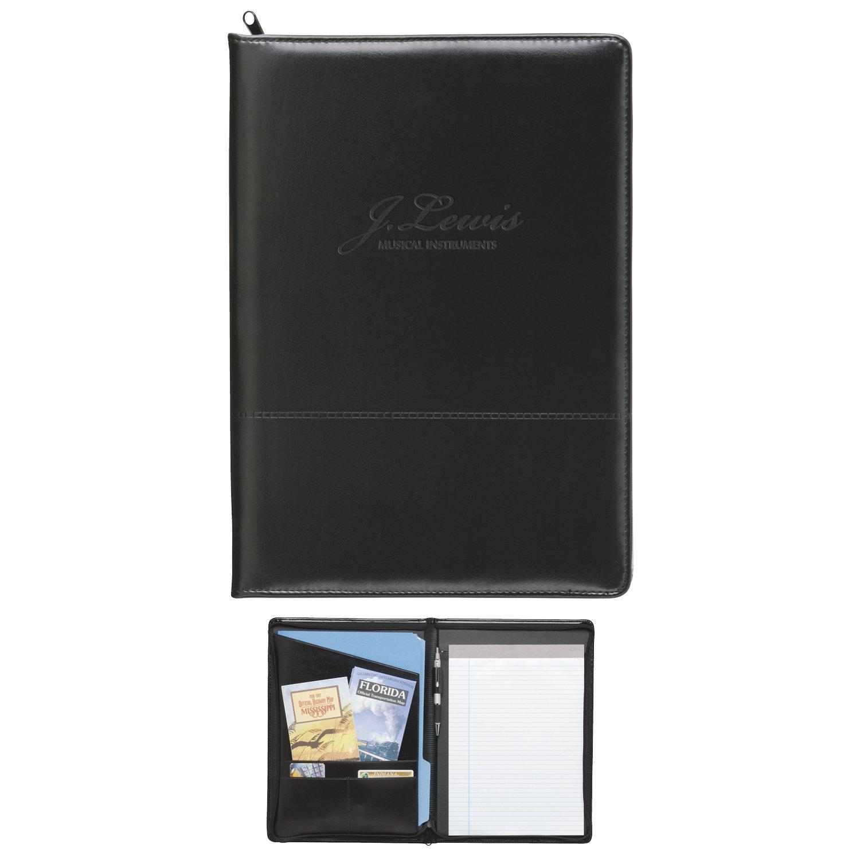Good Value Script Zippered Padfolio Black 25 Pack