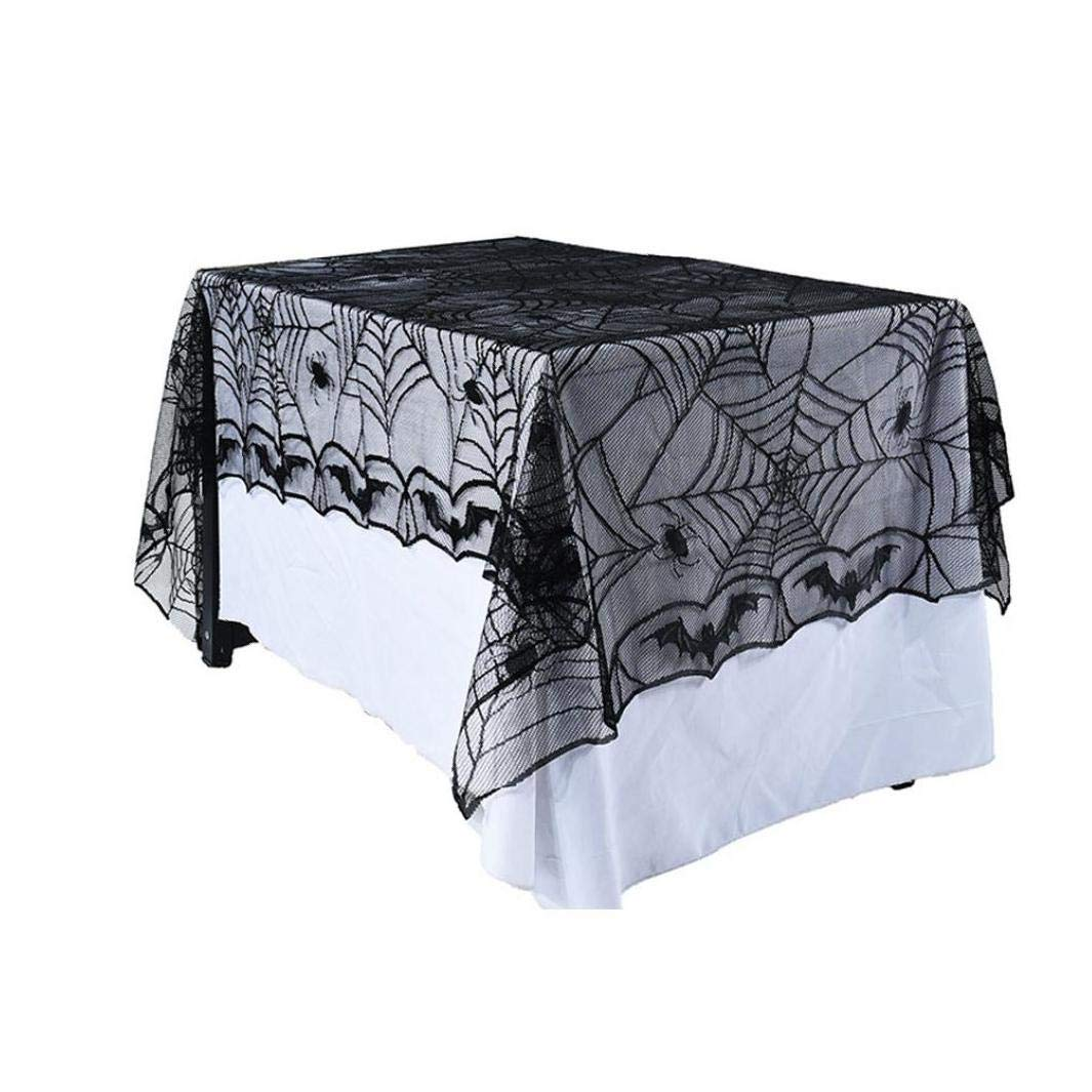 JRXyDfxn 1pc Lace Spider Web Table Cloth Creative Fireplace Scarf Mystery Halloween Party Interior Decoration Edge Black Spider