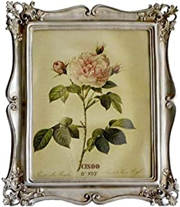 CISOO Vintage Picture Frame 8x10 Antique Photo Frame Table Top Display Wall Hanging Home Decor (Silver)