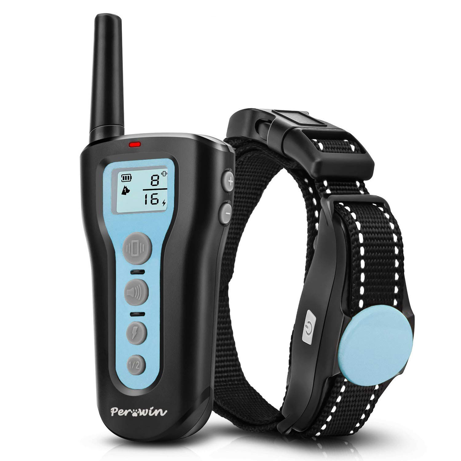 Perwin Dog Training Collar 1000ft Remote Dog Shock Collar Rechargeable Waterproof with Beep Vibration Harmless Safe Shock Collar for Small Medium Large Dogs