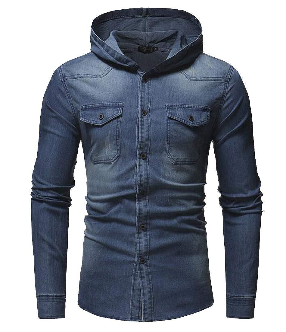 Hajotrawa Mens Vogue Hooded Faded Button Down Long Sleeve Denim Jean Shirts
