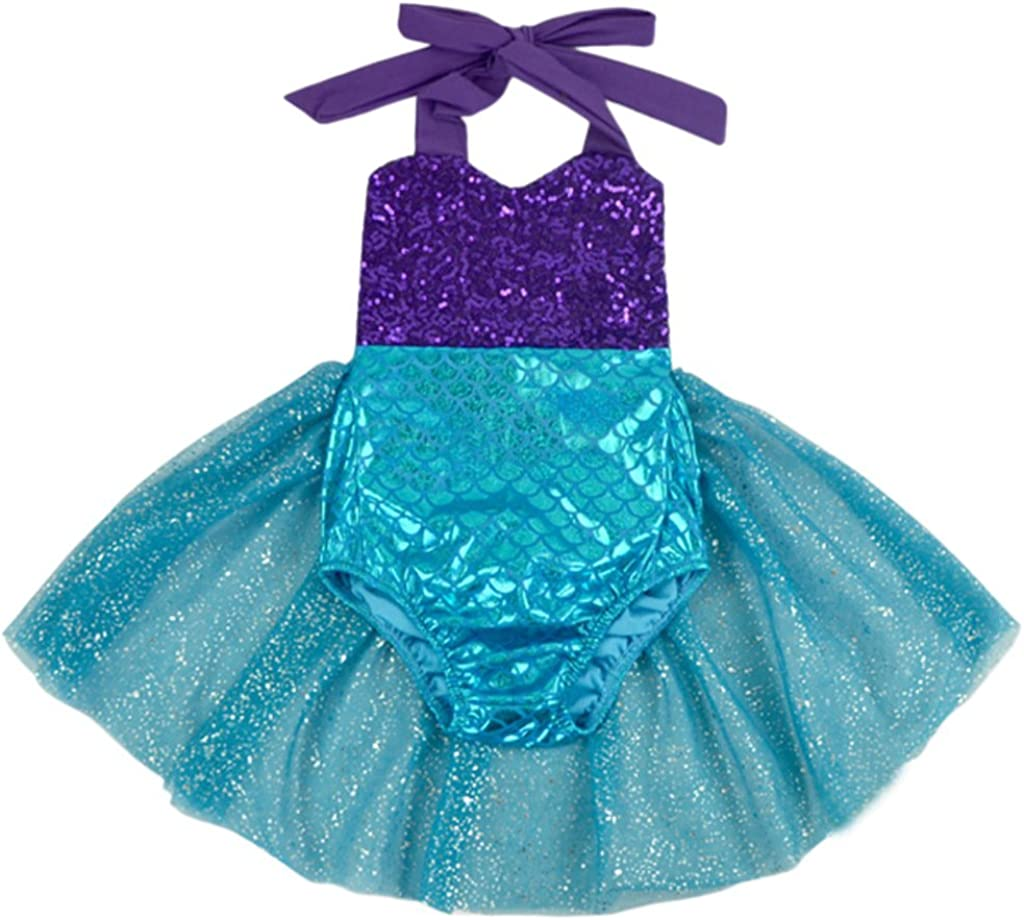 Carkoo Mermaid Baby Girl One Piece Swimsuits with Tutu Dress