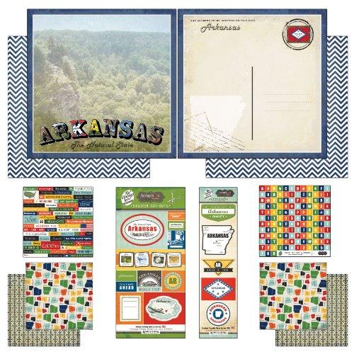 Arkansas Paper - Scrapbook Customs Themed Paper and Stickers Scrapbook Kit, Arkansas Vintage