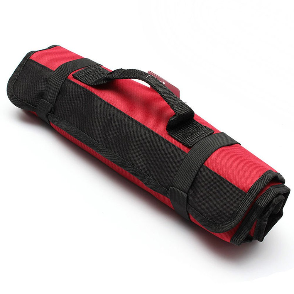 PIXNOR 22-Pocket Tool Roll Pouch Professional Electricians Organizer (Red)