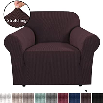 H Versailtex Stretch Sofa Cover 1 Piece Skid Resistance Furniture Protector Cover Jacquard Spandex Couch Covers Armchair Slipcover Form Fitted Chair