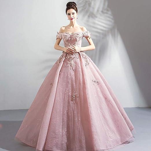 W&TT Mujeres con Cuentas appliquer Rosa Puffy Ball Prom Vestido ...