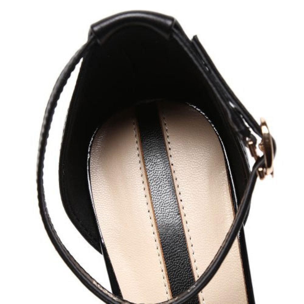 DKFJKI Frauen High High High Heels Mode Hohlen Leder Damenschuhe Quadratischen Kopf mit Einem Einzigen Schuhe Wort Schnalle Sandalen Wild Freizeit B07CNQ7TYY Sport- & Outdoorschuhe Hohe Qualität und Wirtschaftlichkeit 7ad134