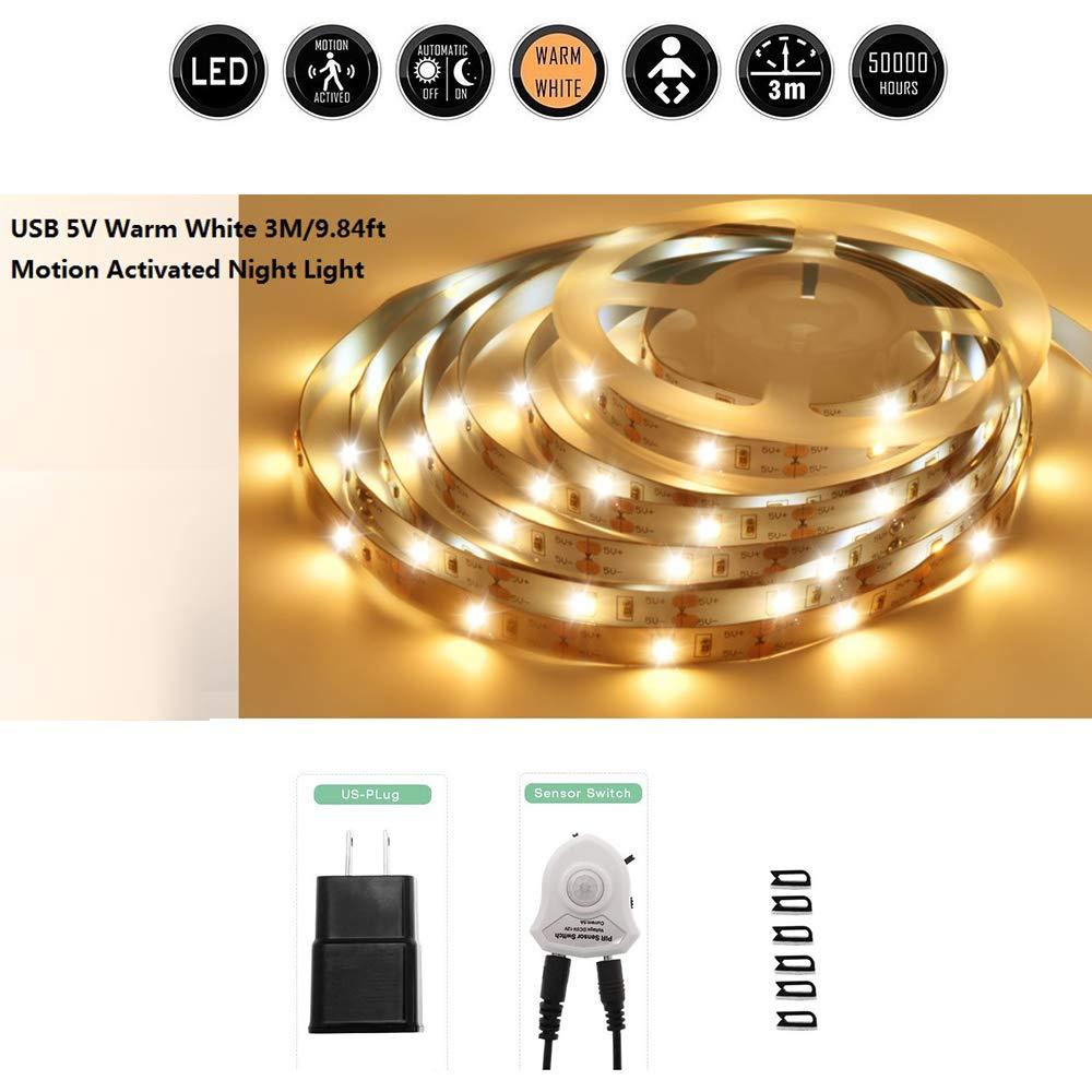 Motion Sensor Stair Light , 9.84ft Warm White LED Strip Light Kit, Flexible USB 5V LEDs Lighting String, Under Cabinet Llights for Kitchen,Cupboard,Desk, TV wall ,Bedroom