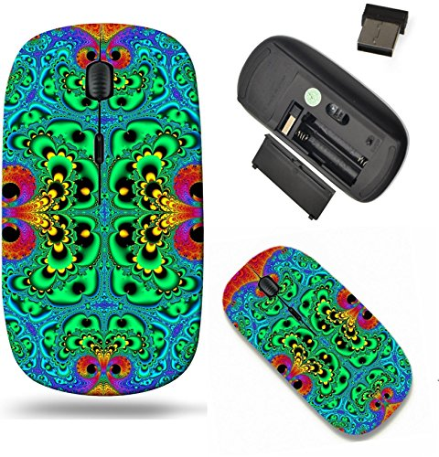 Liili Wireless Mouse Travel 2.4G Wireless Mice with USB Receiver, Click with 1000 DPI for notebook, pc, laptop, computer, mac book Symmetrical fractal pattern as carpet Blue and red palette Computer g -  RDADAUa7OA_SYMMETRICAL FRACTAL _474