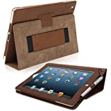 Snugg iPad 3 & 4 Case - Smart Cover with Flip Stand & Lifetime Guarantee (Distressed Brown Leather) for Apple iPad 3 and 4