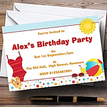 Beach Sun Pool Theme Personalised Birthday Party Invitations