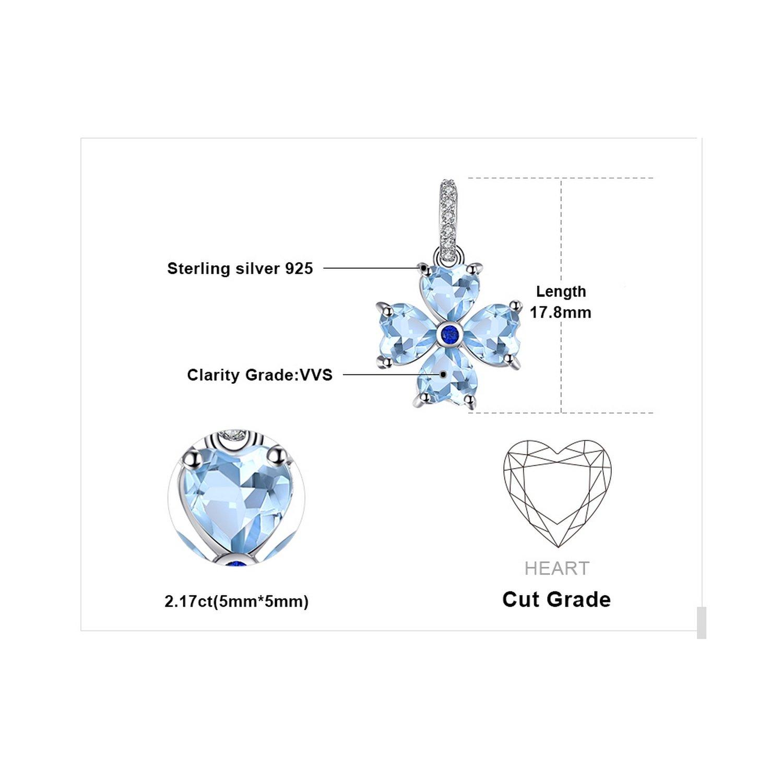 MMC 2.2ct Heart Valentines-Shape Natural Sky Blue Topaz Flower Silver Pendants Necklaces