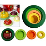 SAVER FOOD HUGGERS REUSABLE SILICONE FOOD PROTECTORS, Fruit and Vegetable STORAGE Containers, Food Stretch Lids, Food Caps for Jars and Cans, Set of 4, BPA-Free, PERFECT GIFT for Kitchen