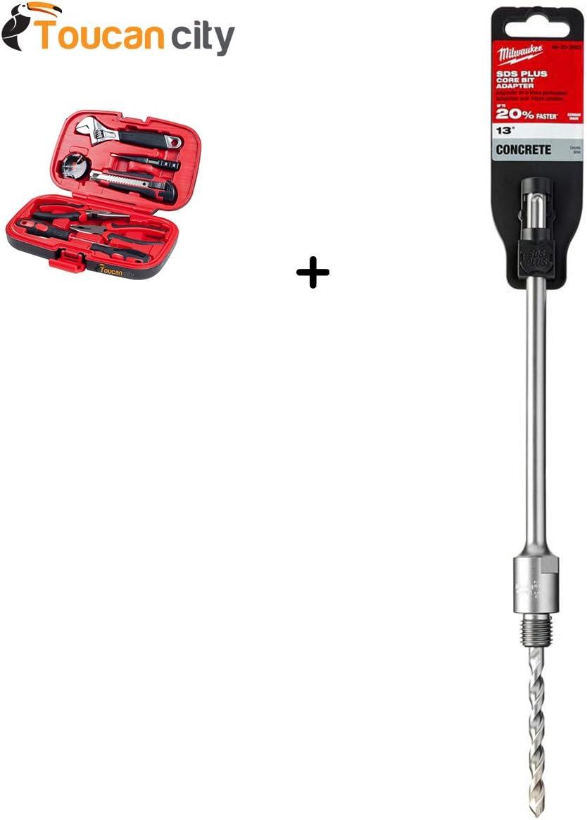9-piece Milwaukee 13 Carbide SDS-Plus Masonry Core Bit Adaptor 48-20-3582 and Toucan City Tool kit