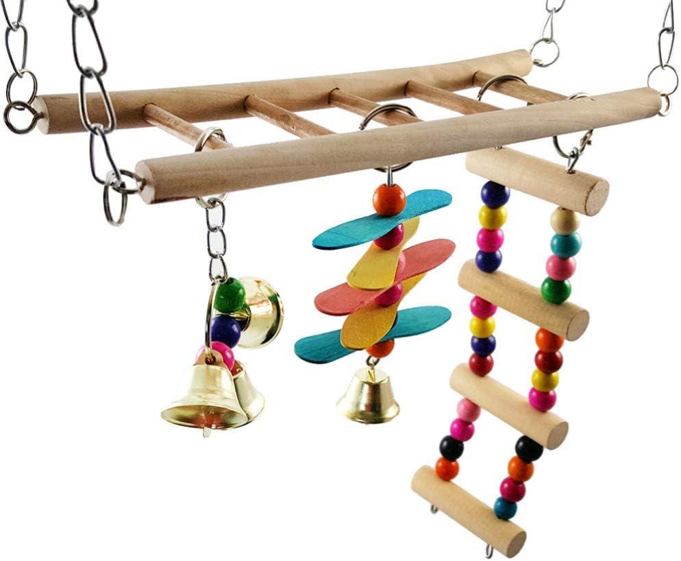 VILLCASE Juguetes para Loros Juguetes Colgantes para Columpios Juguetes de Madera para Escalar Loros Periquitos Cacatúas Conures Pinzones Pájaros del Amor Loros Australianos Pájaros Pequeños
