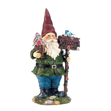 Solar Garden Statue, Bluebird Gnome Welcome Small Lawn Yard Solar Statues