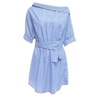 Women Shirt Dress Vestidos De Festa One Shoulder Half Sleeve Stripper (Small)