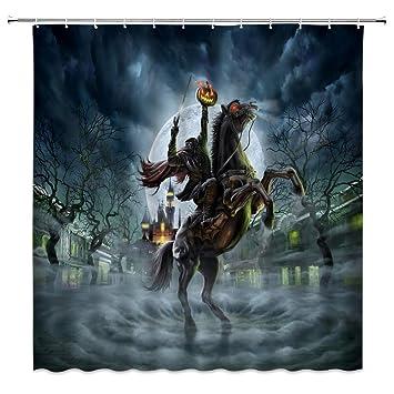 Bathroom Waterproof Halloween Night Sky Stars Bat Dead Tree Shower Curtain Hooks