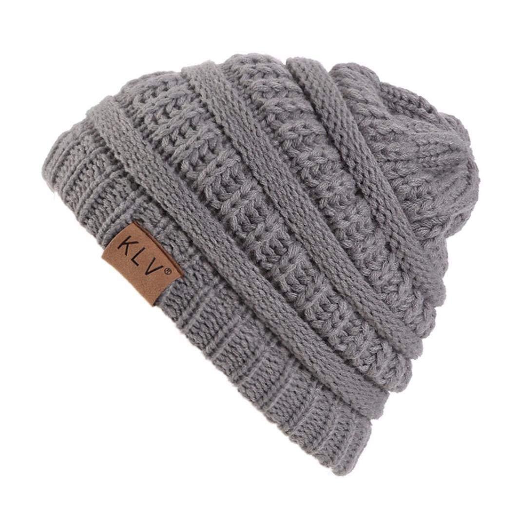 WILLTOO 男女兼用 冬用 暖かい ウール キャップ ニット ビーニー スカル スラウチ かぎ針編み 帽子 スナップバック スキー 帽子 M ブラック  グレー B07GGWSZP3