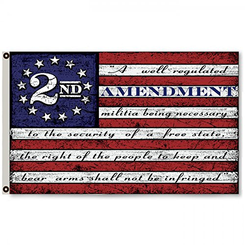 Flylong Second 2nd Amendment Vintage American Flag Banner US