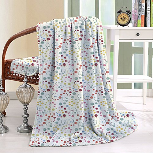 HAIXIA Blanket Traditional Polka Dots with Colorful Summer Vibes Retro Look Vibrant Swirl Designs (Betsy Dot)
