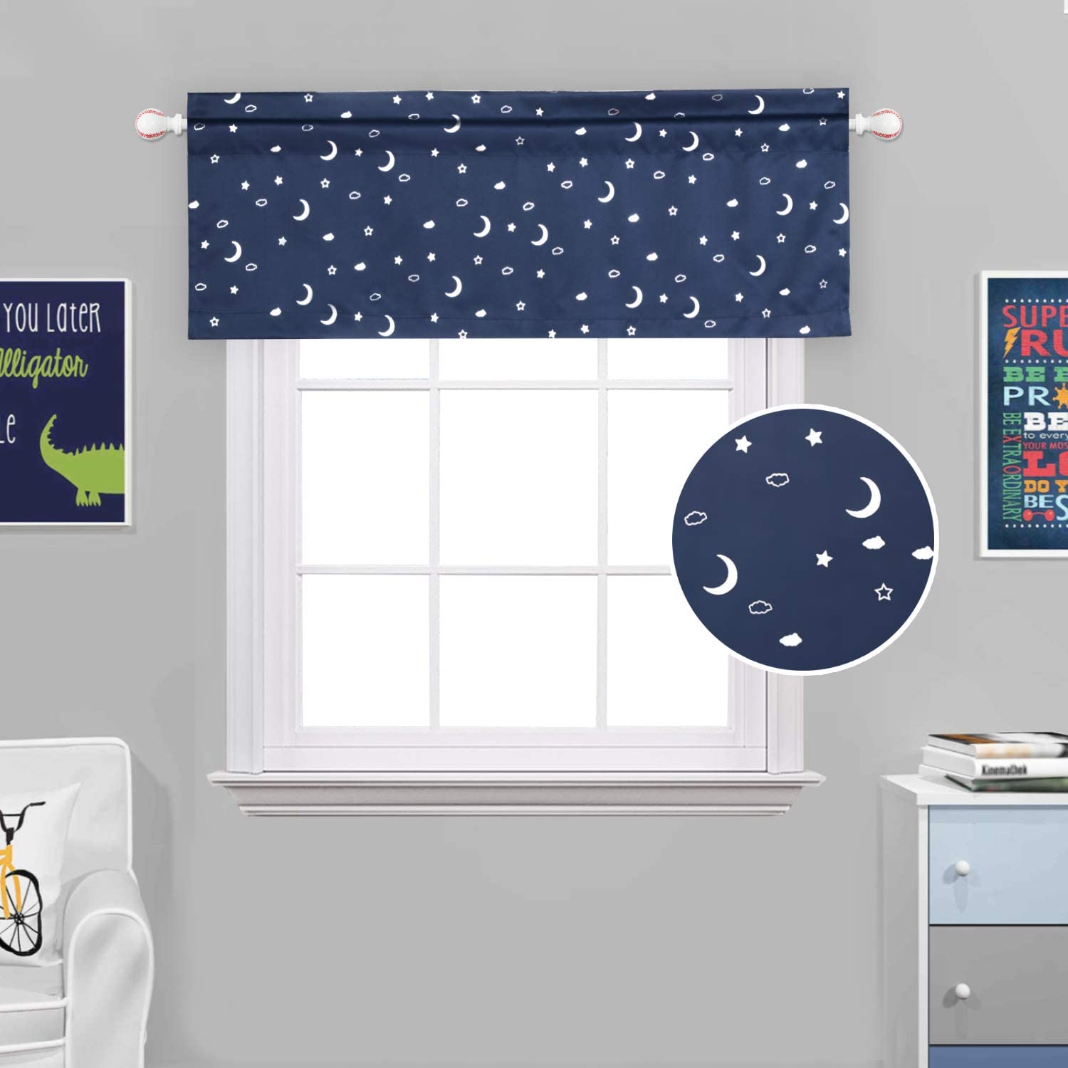 H.VERSAILTEX Blackout Energy Efficient Rod Pocket 52-inch by 18-inch Curtain Valance for Kitchen, Bath, Laundry, Bedroom, Living Room, Moon and Star in Navy Base, 1 Piece