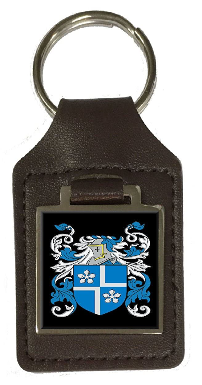 Lynn Family Crest Surname Coat Of Arms Brown Leather Keyring Engraved