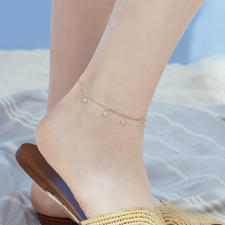 YFN Boho Beach Starfish Ankle Charm Bracelet Sterling Silver Anklet Chain Bracelet Beach Foot Jewelry for Women Little Girls (Starfish Ankle Bracelet) by YFN (Image #6)