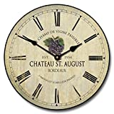 grapes wall clock - Wine Barrel Lid 3 Wall Clock, Available in 8 sizes, Most Sizes Ship 2 - 3 days, Whisper Quiet.