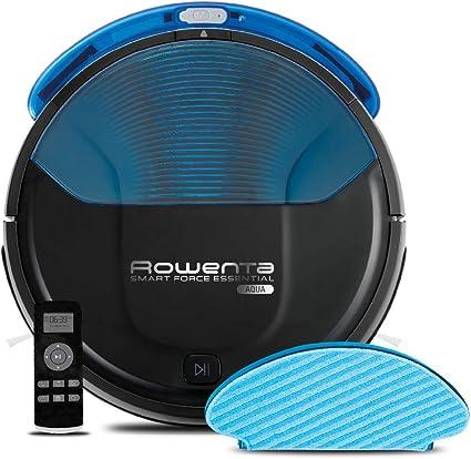 Rowenta RR6971WH Smart Force Essential Aqua - Robot Aspirador 2 en 1, Aspira y Friega, con Sensores Anticaída, 150 Minutos de Autonomía, Incluye Mando a Distancia y Base de Carga, Negro/ Azul