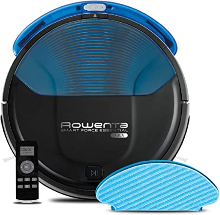 Rowenta RR6971WH Smart Force Essential Aqua - Robot Aspirador 2 en 1, Aspira y Friega, con Sensores