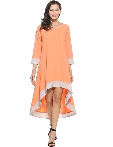 5aef7d3eb55 Miuniu New Women Casual O-Neck Long Sleeve Patchwork Pleated Asymmetrical  Hem Pullover Dress Dresses
