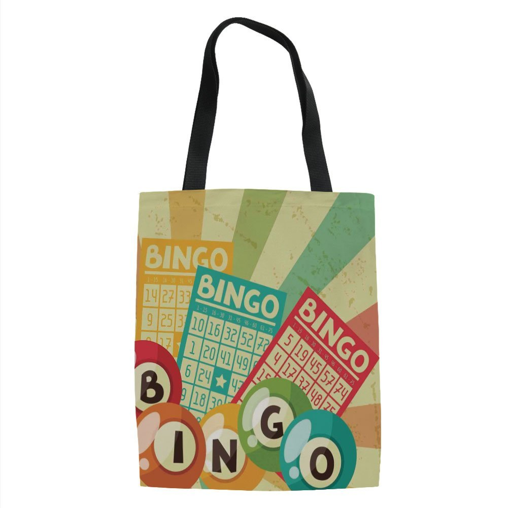 IPrint Vintage Decor,Bingo Game with Ball and Cards Pop Art Stylized Lottery Hobby Celebration Theme,Multi Printed Women Shoulder Linen Tote Shopping Bag by IPrint