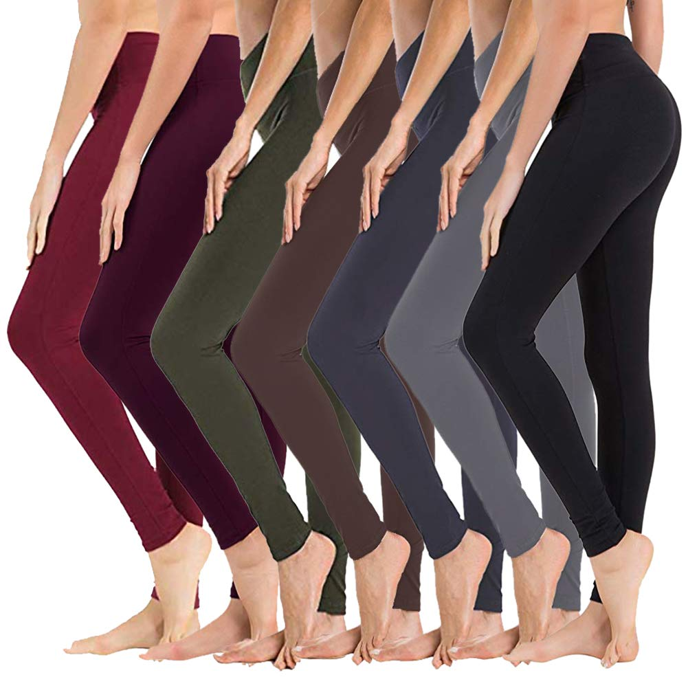 High Waisted Leggings for Women - Soft Athletic Tummy Control Pants for Running Cycling Yoga Workout - Reg & Plus Size (7 Pack Assort01, Extra Size (US 24-32)) by SYRINX