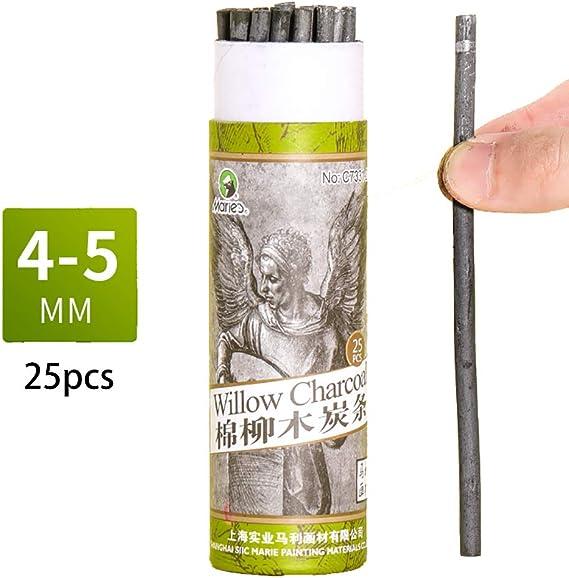 Bastones de carbón, lápices de carbón de sauce de algodón para dibujar, paquete de 25 (4-5 mm de diámetro): Amazon.es: Juguetes y juegos