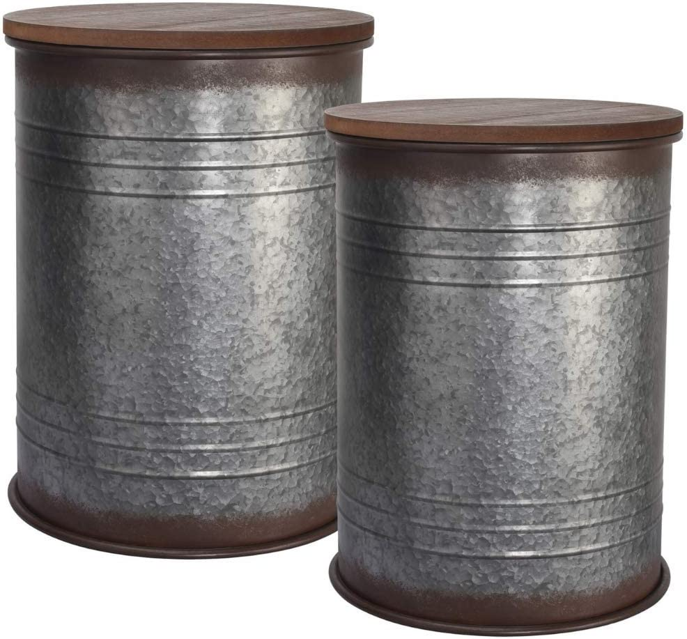 Farmhouse Accent Side Table - Galvanized Rustic End Table. Metal Storage Bin Wood Cover. Coffee or Cocktail Table. Nesting Pieces Two - Rustic