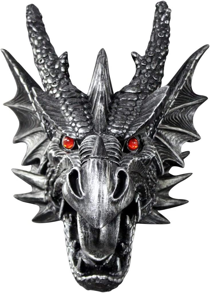 Wall Charmers Faux Dragon Head Wall Hanging 18 inch Faux Taxidermy Dragon Decor – Handmade Magical Decor