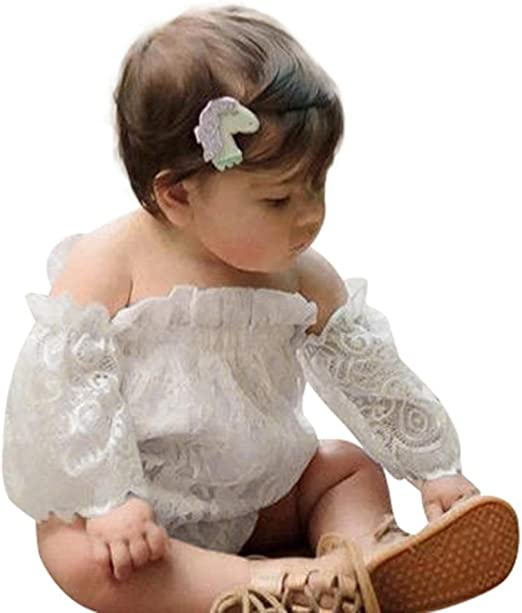 US Toddler Newborn Baby Girl Lace Short Sleeve Romper Jumpsuit Outfits Clothes