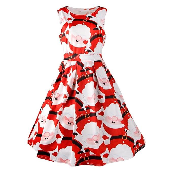 Kleid Damen Swing Partykleid,Weihnachten Drucken Lange Frauen ...