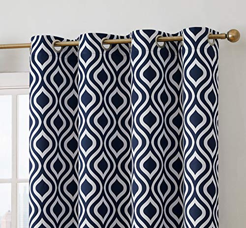 - HLC.ME Ogee Trellis Print Blackout Grommet Curtain Panels for Bedroom - 99% Light Blocking - Thermal Insulated Decorative Pair for Privacy & Room Darkening - Set of 2 (52
