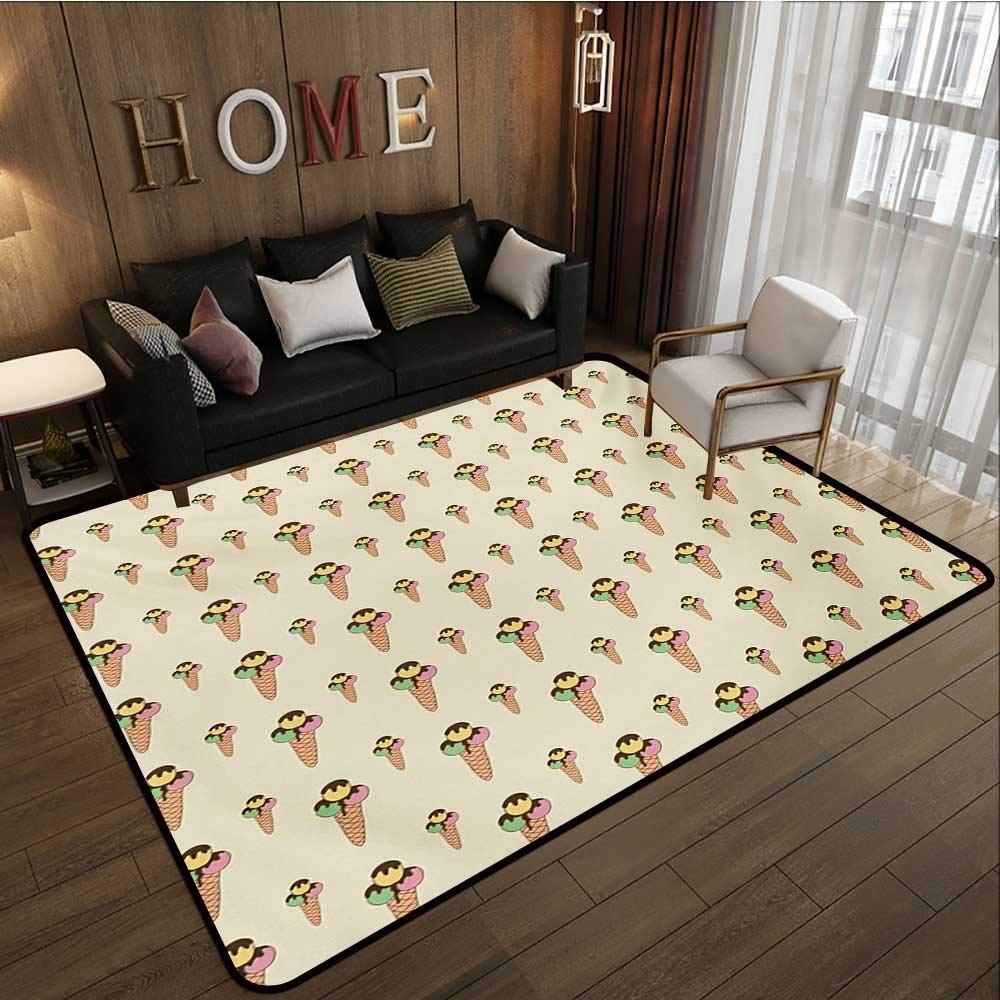 Household Decorative Floor mat,Summer Season Dessert on a Cone with Chocolate Sauce Hand Drawn Cartoon Pattern 6'6''x8',Can be Used for Floor Decoration by BarronTextile (Image #2)