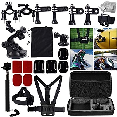 MCOCEAN 33-in-1 Accessories Set for GoPro Hero 4 3 Plus 3 2 and Camera: Telescoping Handheld Monopod Plus Chest Harness Plus Head, Wrist Strap Plus Suction Cup