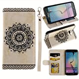 Black Sales Friday Cyber Sales Monday Sales & Deals Week-for Samsung Galaxy S6 Edge Wallet Case,Valentoria Mandragora Flower Premium Vintage Emboss Leather Wallet Pouch Case with Wrist Strap(White)