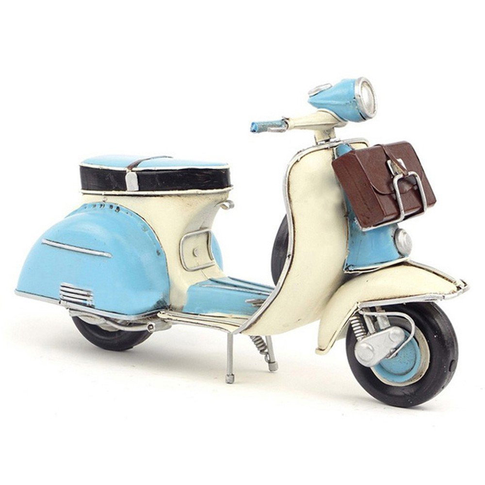 CYXStar Motorcycle Model Handmade Iron Motorcycle Model Vintage Car Model For Home Decor (Blue(1965))
